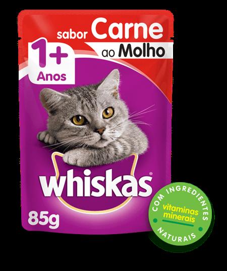 Sachê da Whiskas Sabor Carne Para Gatos Adultos 85gr cada  kit com 10 unidades