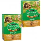Biscoito Dog Chow Extra Life para Cães Adultos de Raças Pequenas e Mini Sabor Frango kit 2 unidades