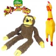Brinquedos para caes kit brinquedo mordedor frango e pelucia macaco