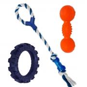 Brinquedos para caes kit brinquedo pneu  mordedor e alteres