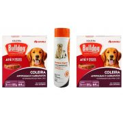 Coleira Bull Dog carrapato E Pulga Cão Kit Com 2 Unidades + Shampoo