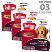 Coleira Bull Dog  Carrapato E Pulga De Cão Kit Com 3 Unidades Coveli