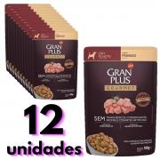 Sachê Gran Plus sabor frango para cão filhote combo com 12 unidades