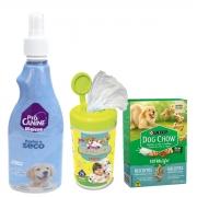 Kit Com 1 Lenço Umedecido Para Cão Filhote + um Banho A Seco da pro canine + um caixa com 300 gramas de biscoito