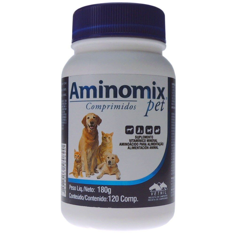 Aminomix Pet Com 120 Comprimidos Vitamina Cão E Gato