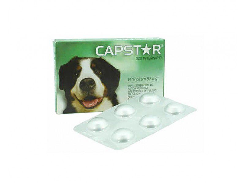 Antipulgas Novartis Capstar 57mg Para Cães De 11 A 57kg - 6 Comprimidos