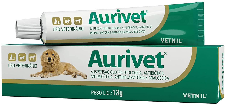 Aurivet Pomada Vetnil Uso Veterinário Otites Cães Gatos