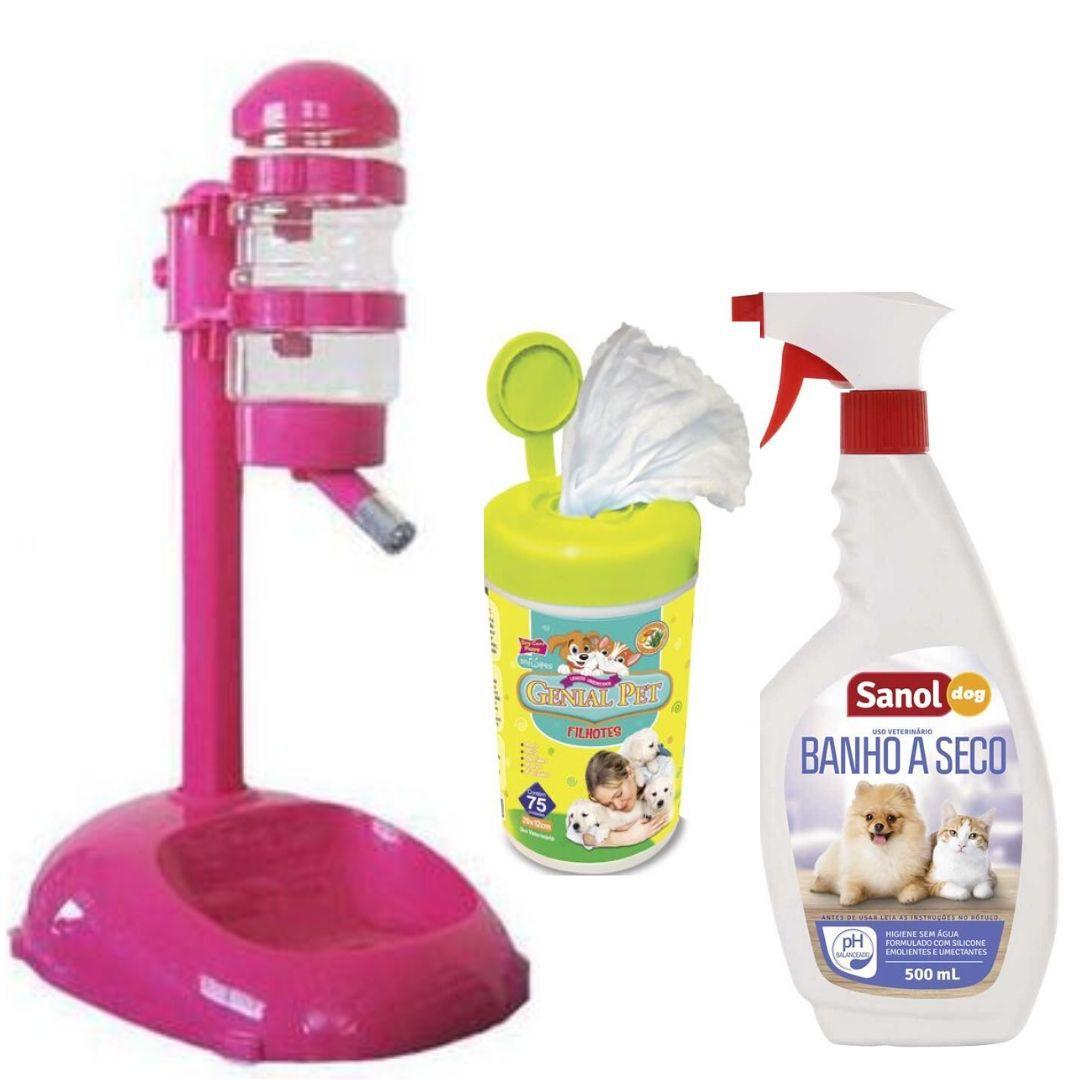 Bebedouro Pelo Longo + Banho A Seco + Lenço Umedecido Kit  rosa