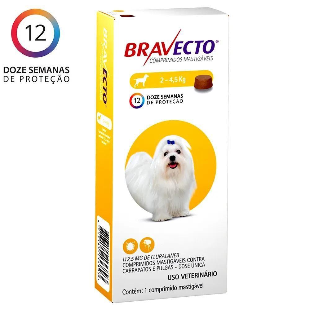 Bravecto até 4,5kg Antipulgas e carrapato Oral Cães Comprimido Mastigável 112,5mg