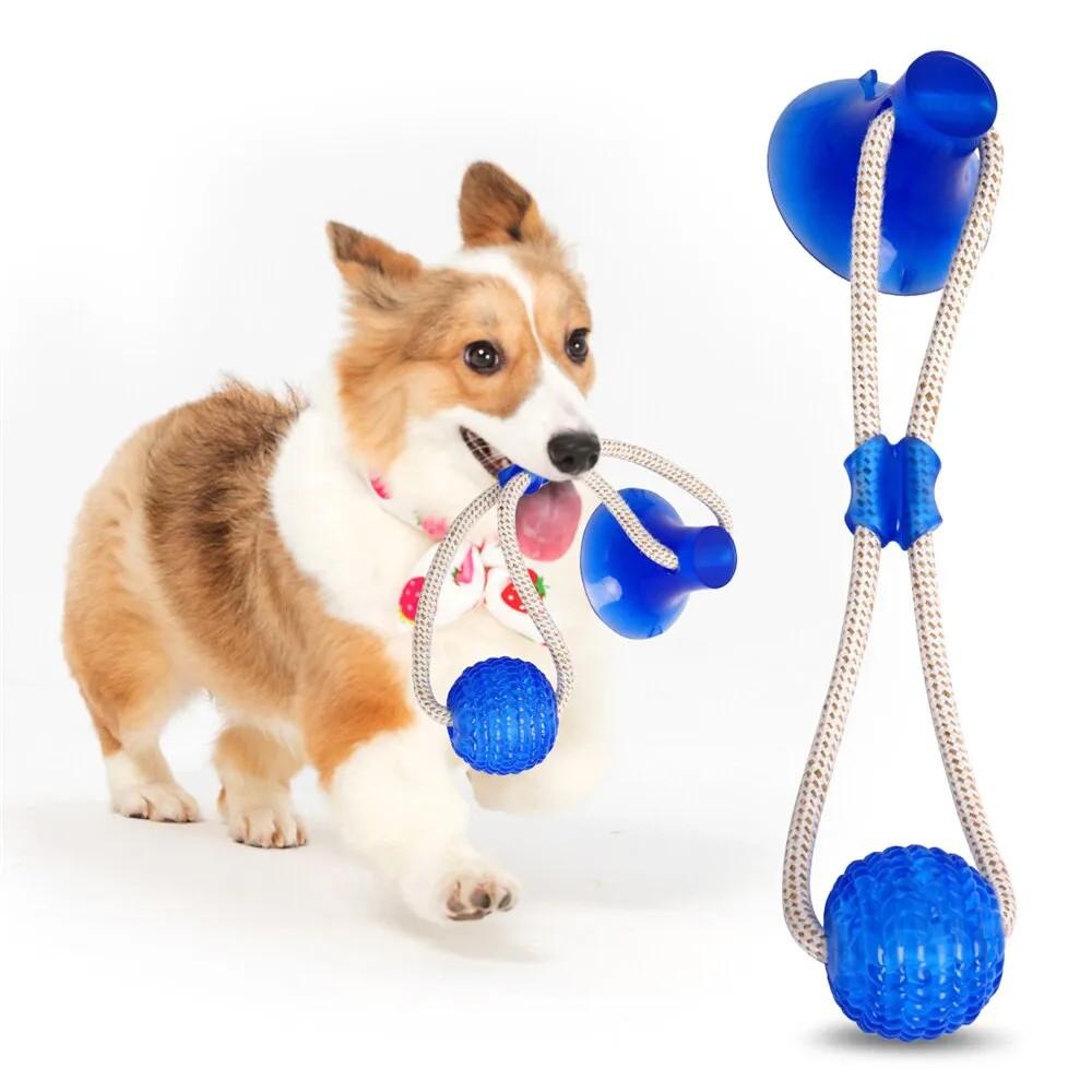 Brinquedo puxa puxa com ventosa que gruda no chão para cachorro