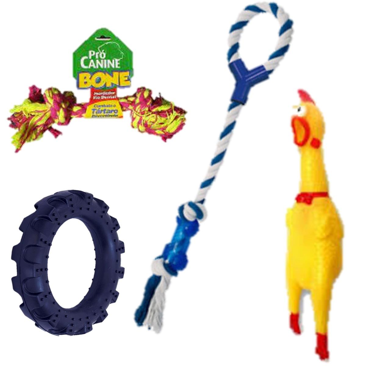 Brinquedos para caes kit brinquedo pneu frango, mordedor e bone divertido