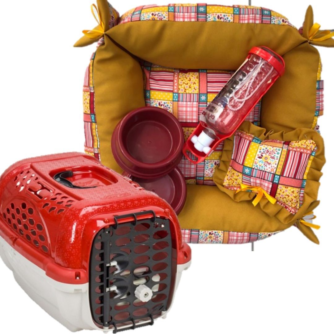 Cama para Cão + Transporte + Comedouro  + bebedouro + pet drik  kit completo