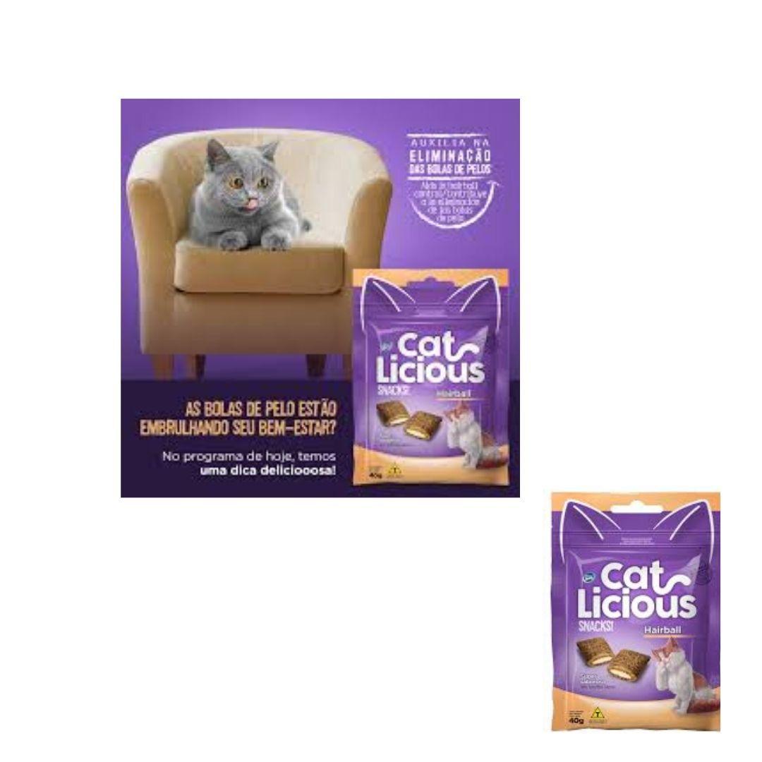 Cat Licious Hairball  petisco anti bola de pelo para gato combo com 5 unidades