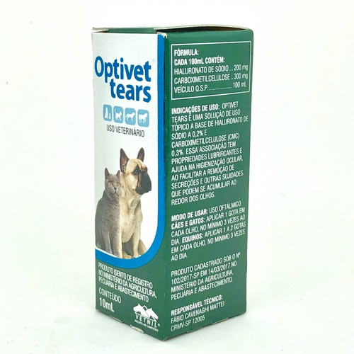 Colírio Vetnil Optivet Tears para Cães e Gatos e outros pets