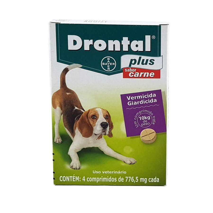 Drontal Plus Carne - Cães 10 Kg -  4 Comprimido vermifugo cães
