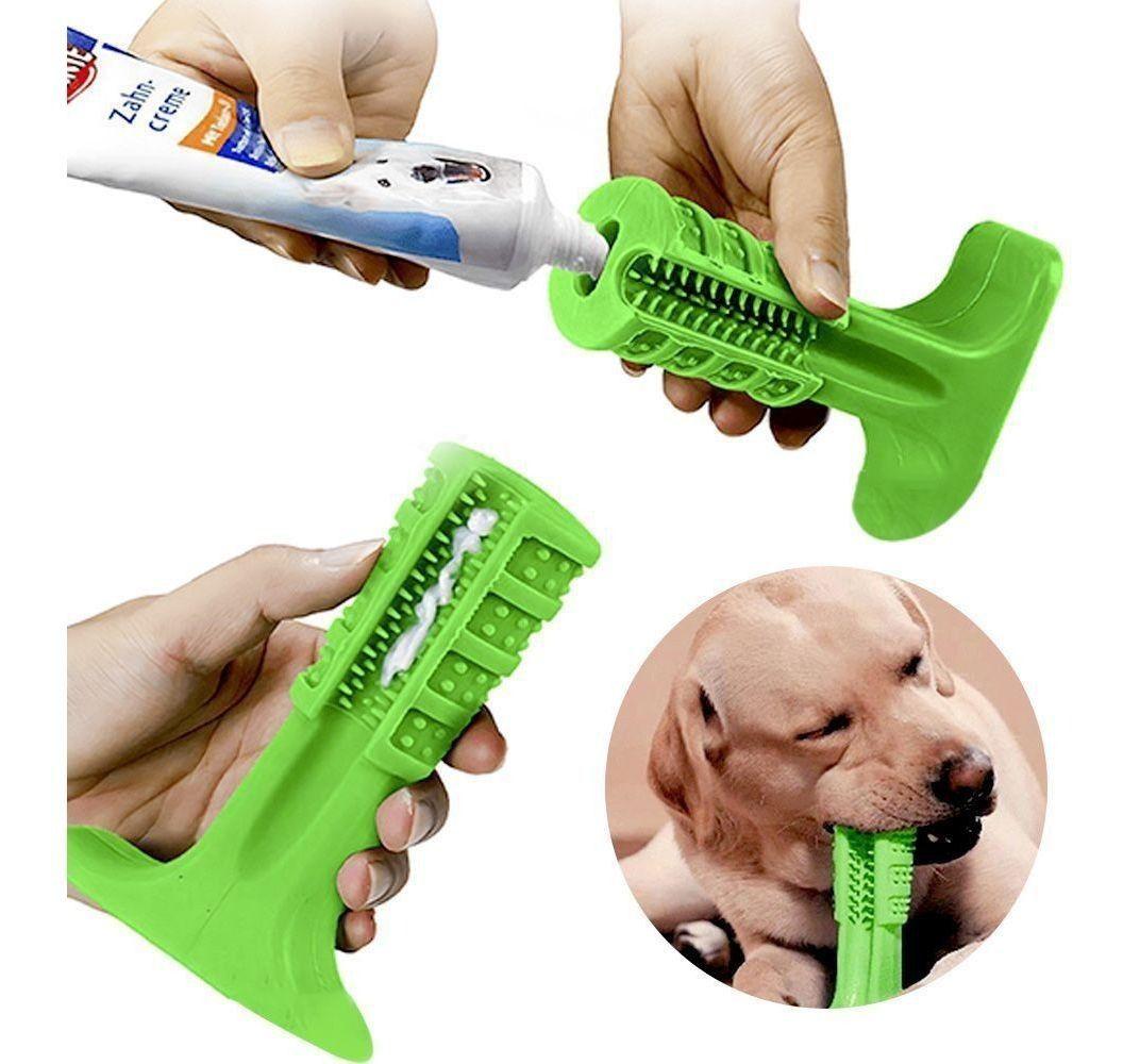 Escova dental tipo brinquedo para cães com porta creme dental media