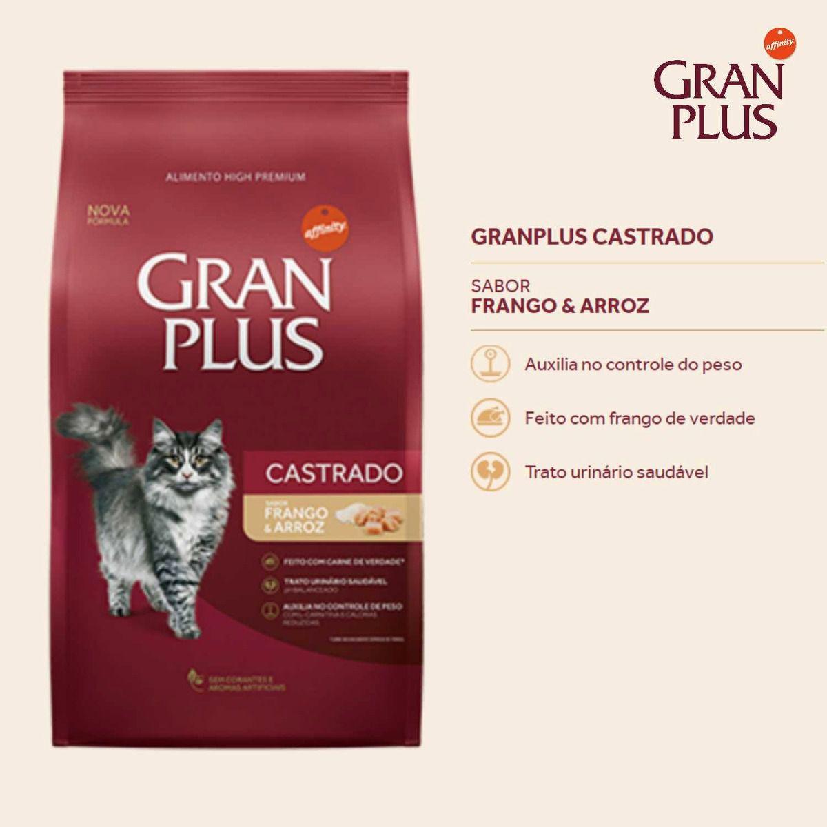 Gran Plus Gato Castrado Frango 10kg contem 10 pacotinhos com 1 kg