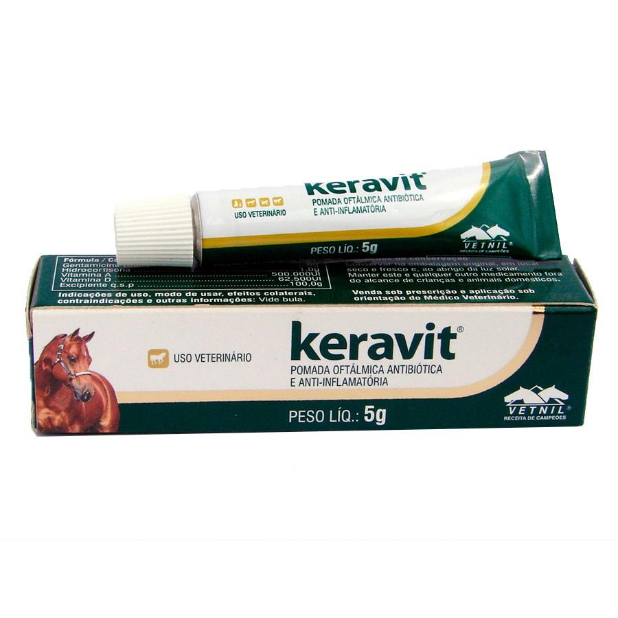 Keravit Pomada Oftalmologica para cães gatos e outros pets- 5gr
