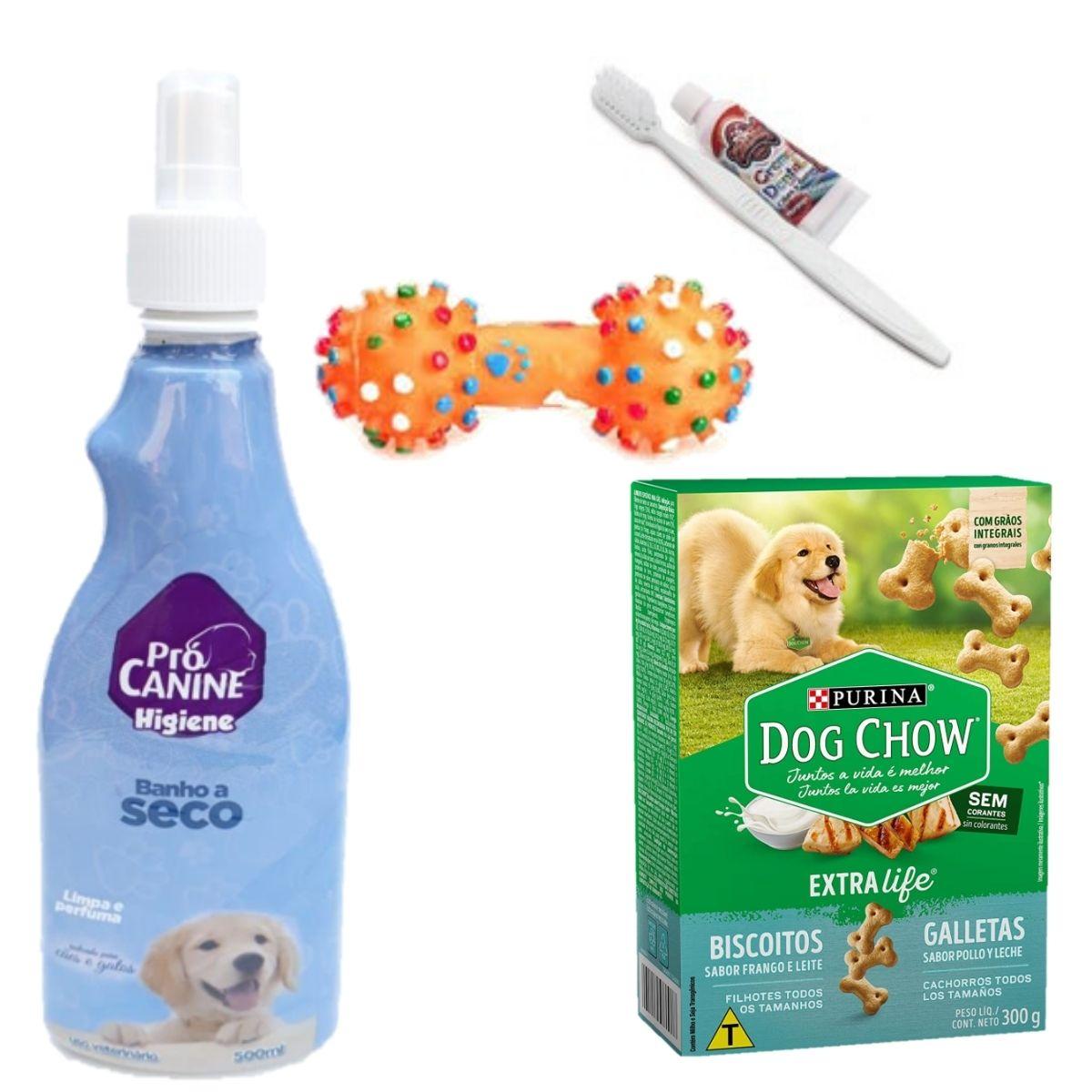 Kit Com 1Banho A Seco da pro canine + um caixa com 300 gramas de biscoito + brinquedo + escova e creme dental