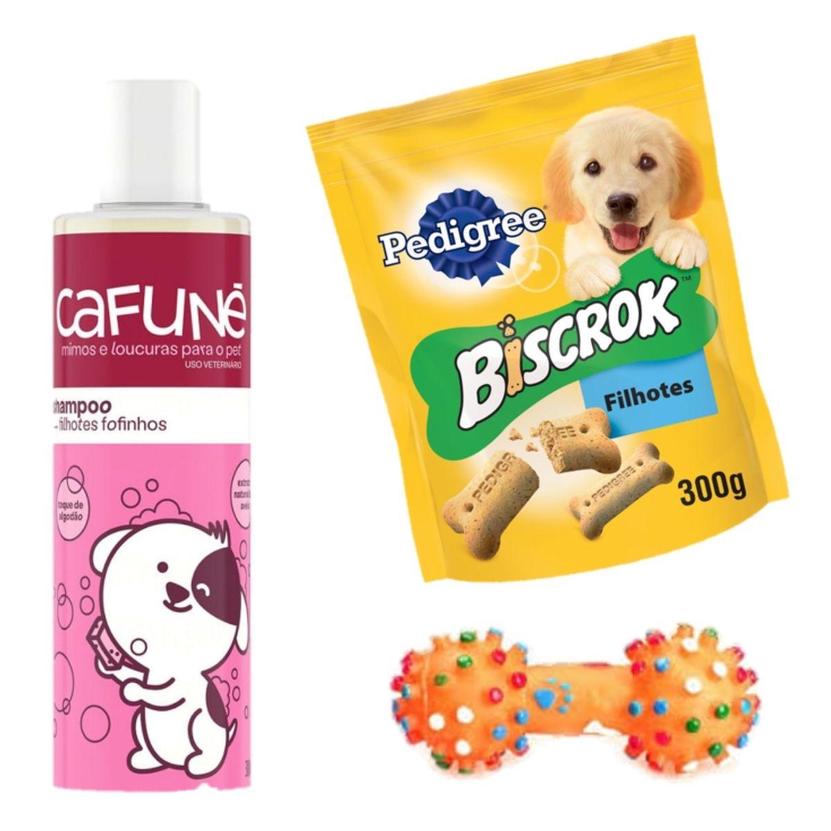 kit com shampoo Cafune filhotes + biscrok júnior + brinquedo alteres mine