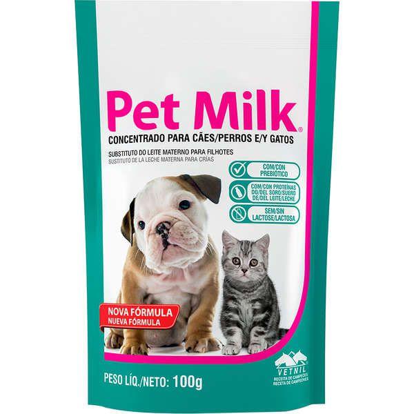 Leite Gatos Cães Filhotes Pet Milk 100g + Kit Mamadeira