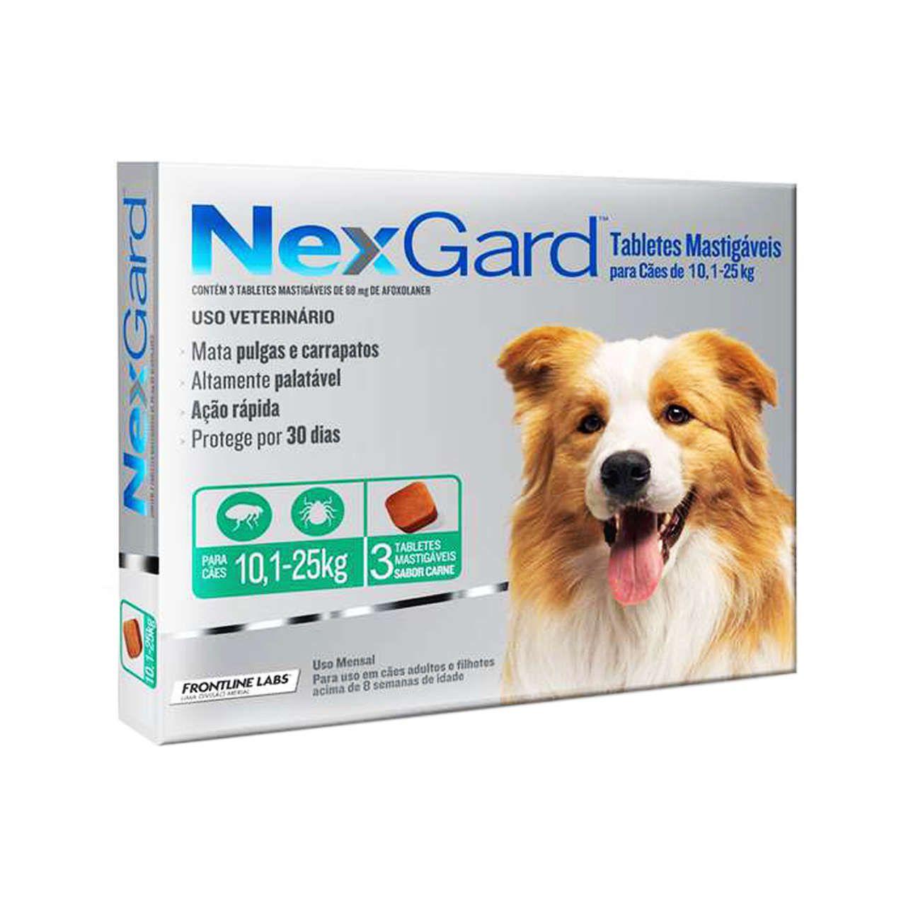 Nexgard cães De 10 A 25 Kgs caixa Com 3 Unidades