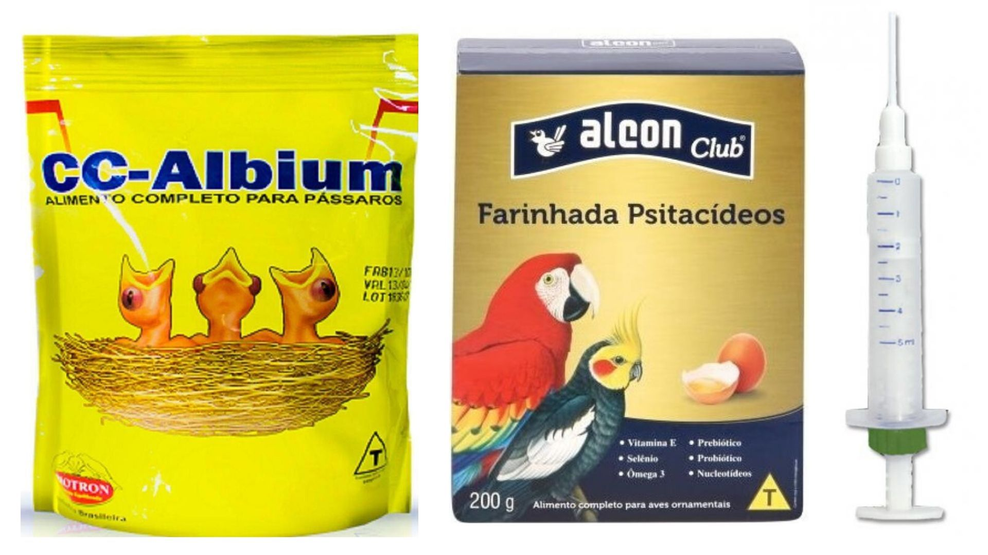 Papinha Pássaros Filhotes + Farinhada + Seringa P/ Tratar