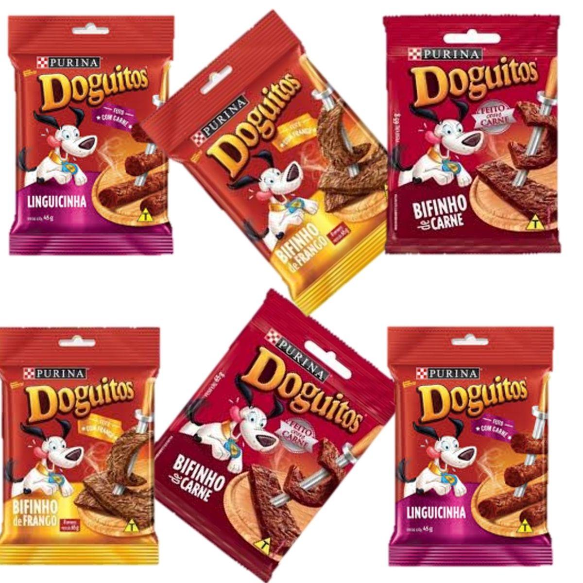 Petisco  Doguitos Bifinho De Carne, frango e linguicinha Para Cães  combo com 6 unidades