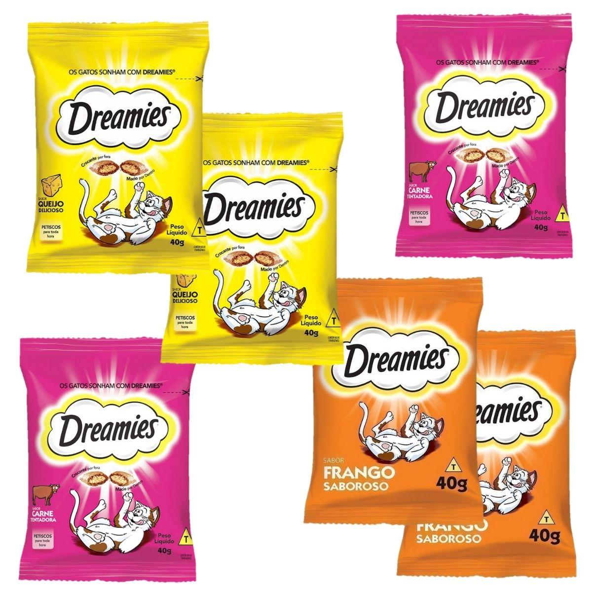 Petiscos Para Gato saboroso Dreamies combo com 6 unidades carne, frango e queijo