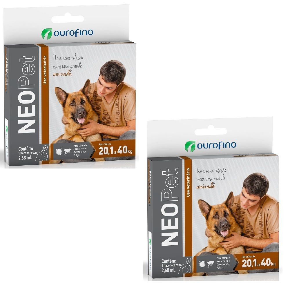 Pulgas E Carrapatos Cachorro De 20 A 40 Kg Neopet Kit 2 unidades