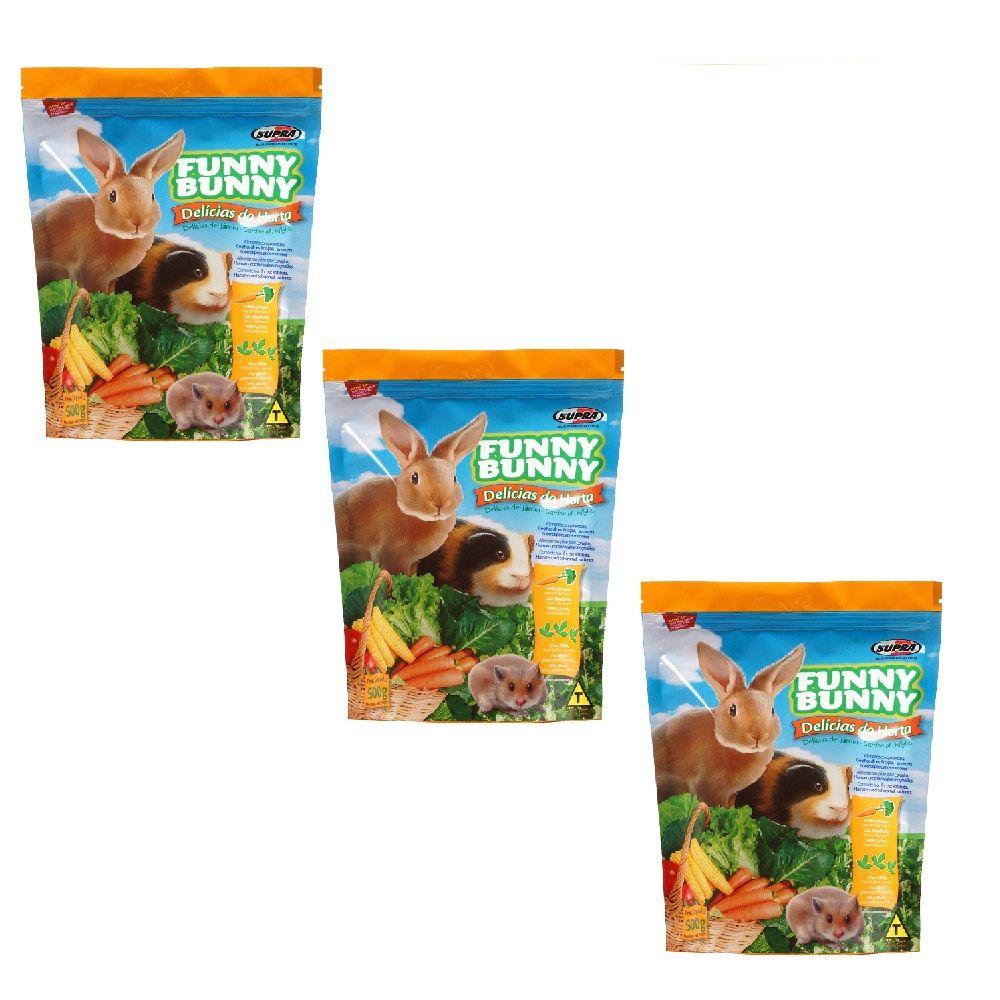 Ração Funny Bunny para Pequenos Roedores E Porquinho Da India kit com 3 unidades