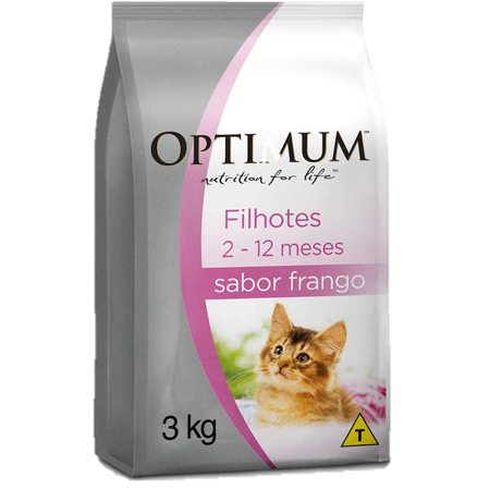Ração Optimum Premium Para Gatos Filhotes Sabor Frango 3kg grátis 2 saches