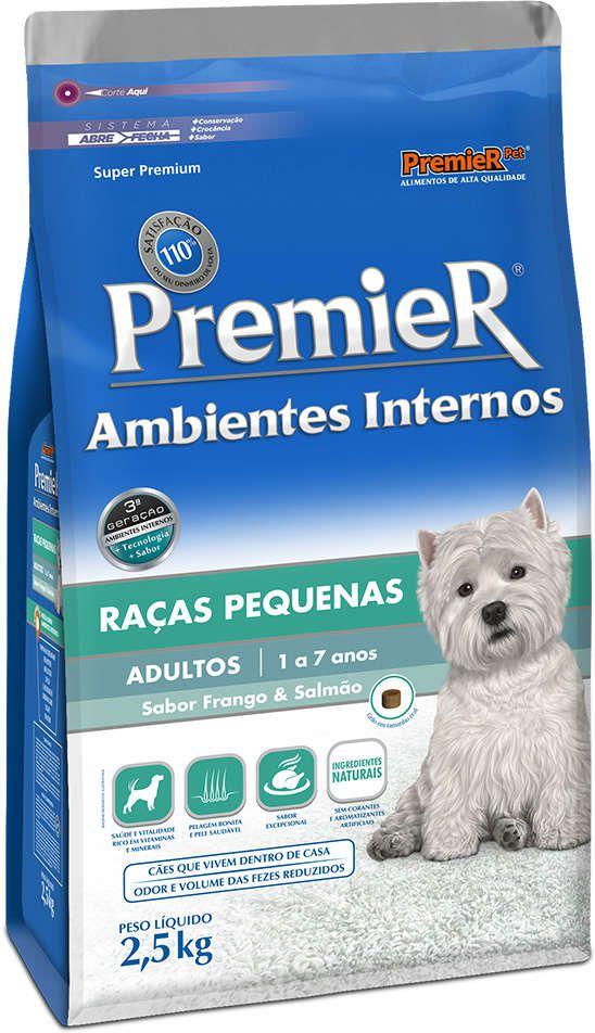 Ração Premier Ambientes Internos Cães Adultos Frango Salmão 2.5kg