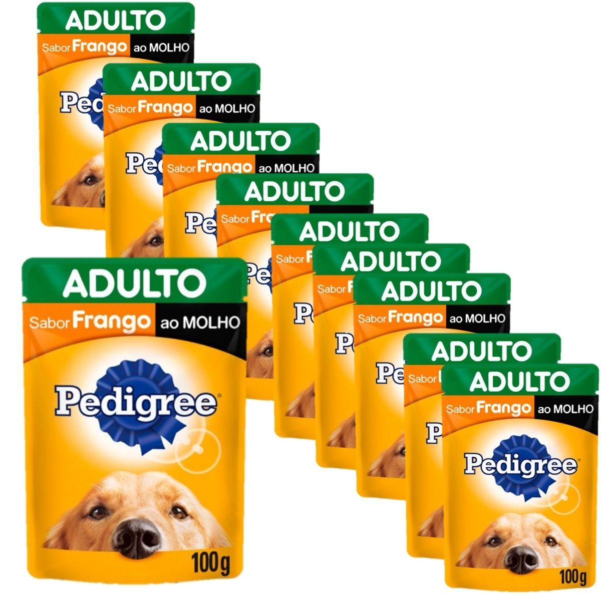 Sachê da Pedigree sabor Frango Ao Molho 100gr kit com 10 unidades