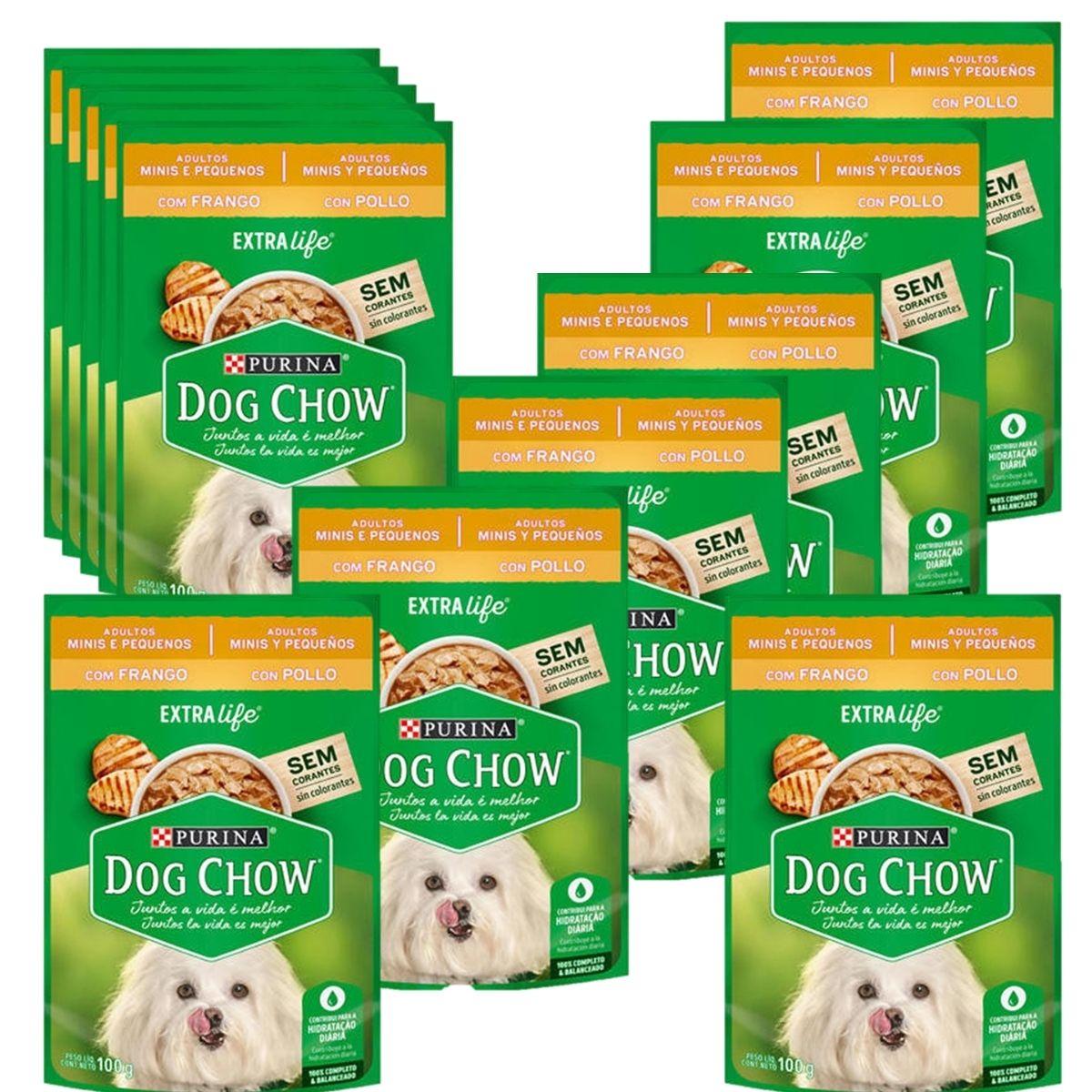 Sachê Dog Chow Cães adulto pequeno porte  sabor frango 12 unidades