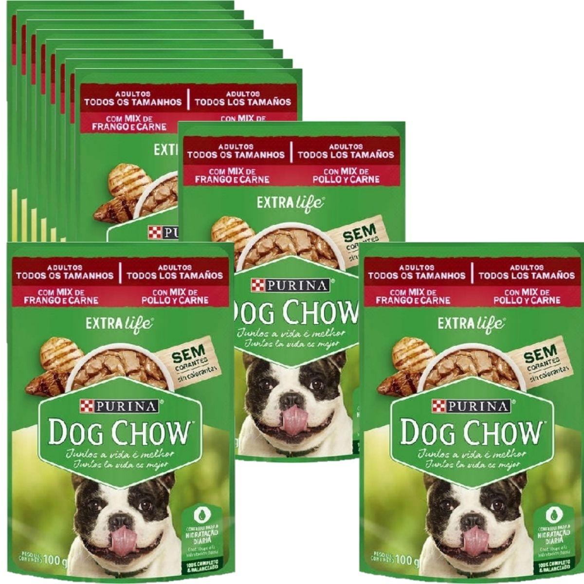 Sachê Dog Chow Cães adulto pequeno porte  sabor  mix de carne e frango 12 unidades
