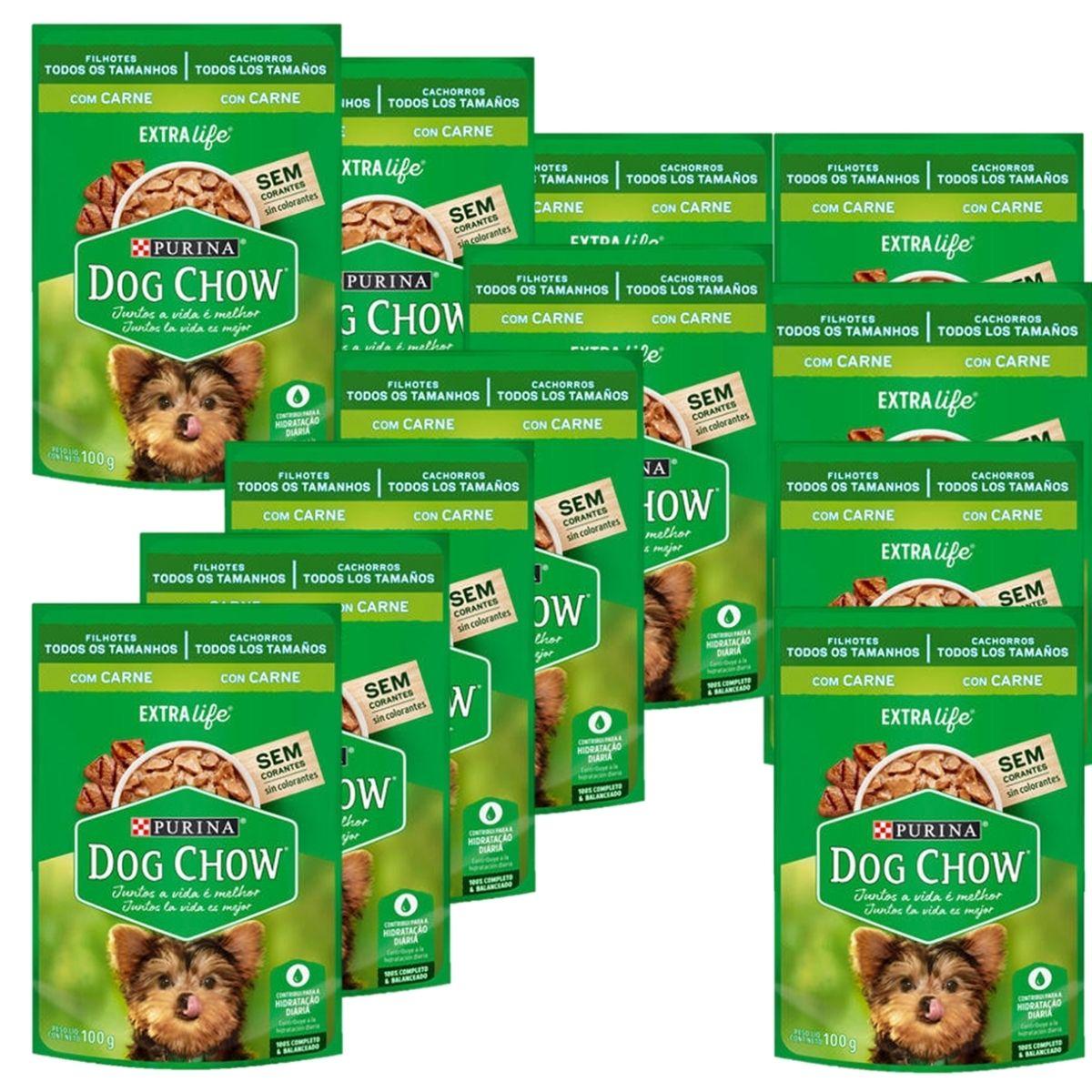 Sachê Dog Chow Cães filhotes sabor carne 12 unidades