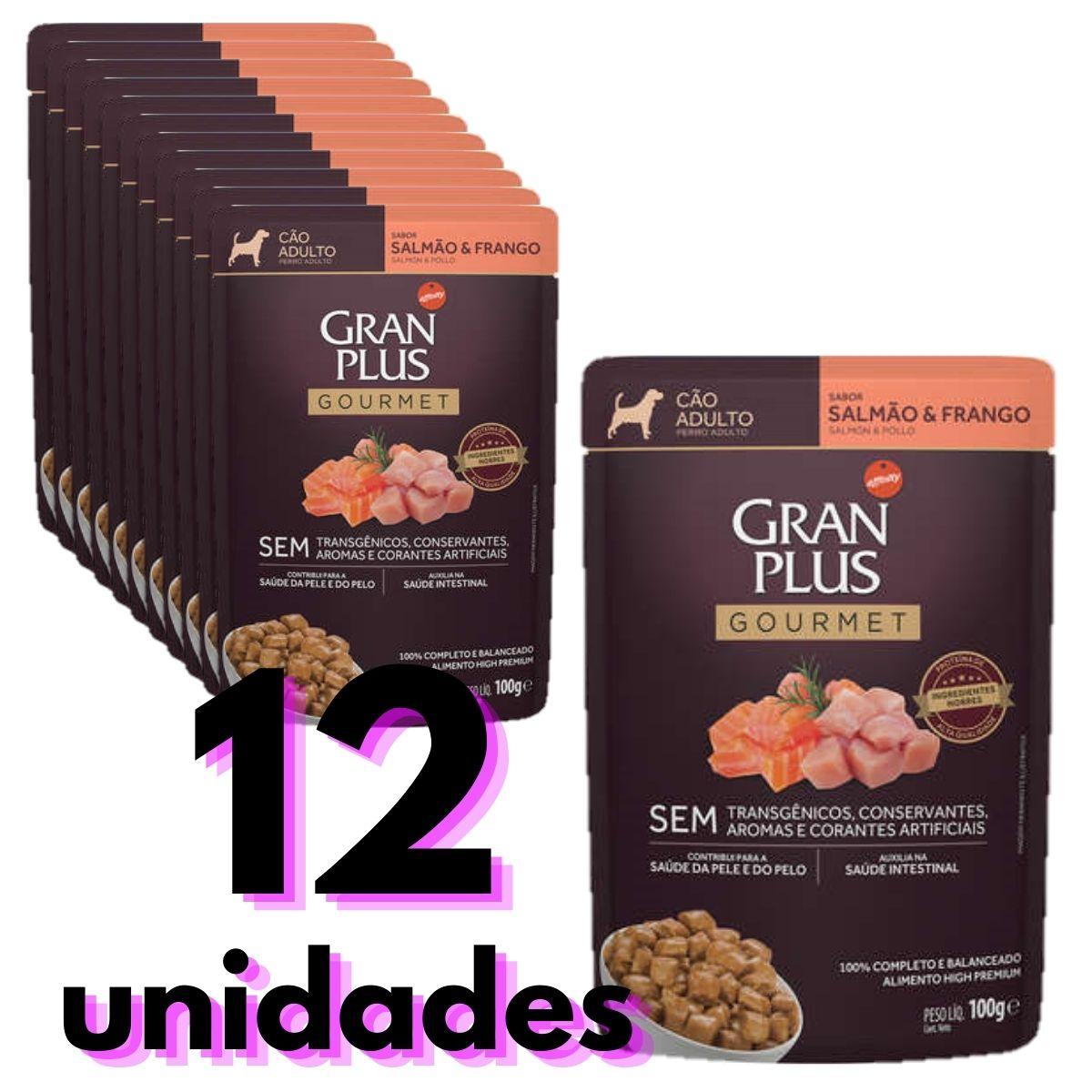 Sachê Gran Plus para Cães Adultos sabor salmão e frango  combo com 12 unidades