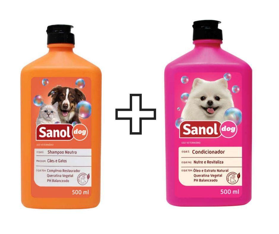 Shampoo Sanol Neutro Para Cachorro e gato + Condicionador Sanol