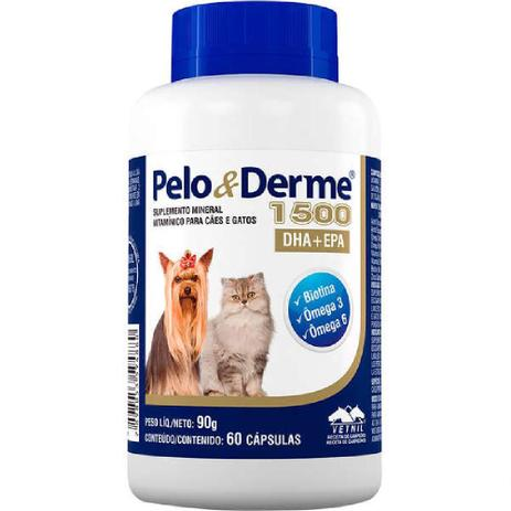 Suplemento Vetnil Pelo & Derme Dha + Epa 1500 Com 60 unidades queda de pelo cão e gato grátis brinde