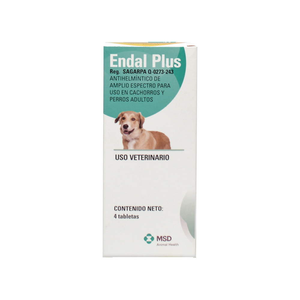 Vermífugo Para Cães Endal Plus Msd - 4 Comprimidos