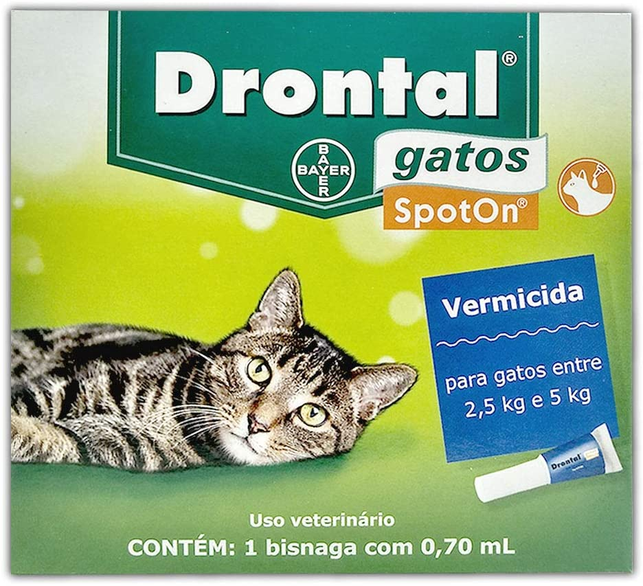 Vermífugo para Gatos Drontal Spot On 2,5kg a 5kg Bayer remédio de verme uso tópico sem stress