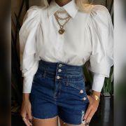 Camisa em Tricoline Branco Mangas Bufantes