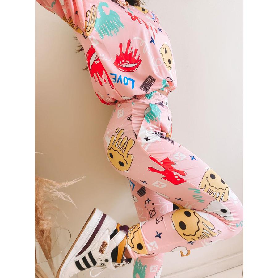 Conjunto Legging e Blusa Fluit Estampado Rosa