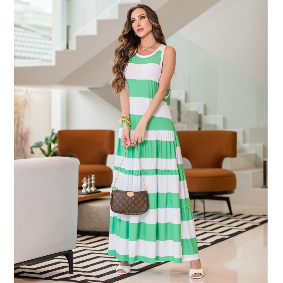 Vestido Maxi Regata Listrado com Fenda