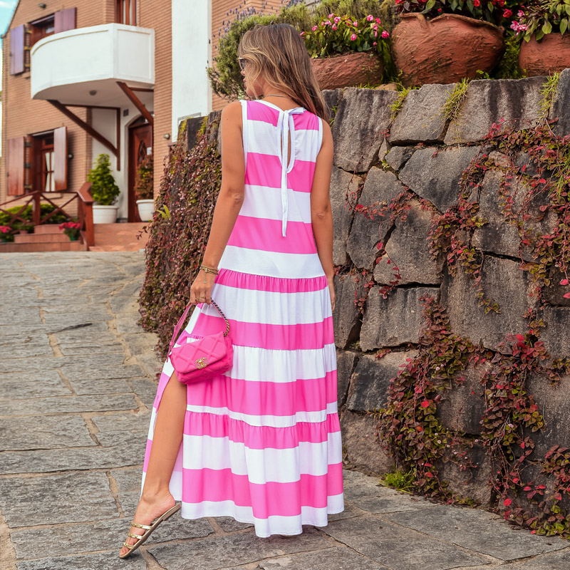 Vestido Maxi Regata com Fenda