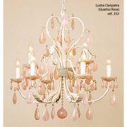 lustre cristal CLEÓPATRA 64cm rosa 9Xvelas Ilunato TL353