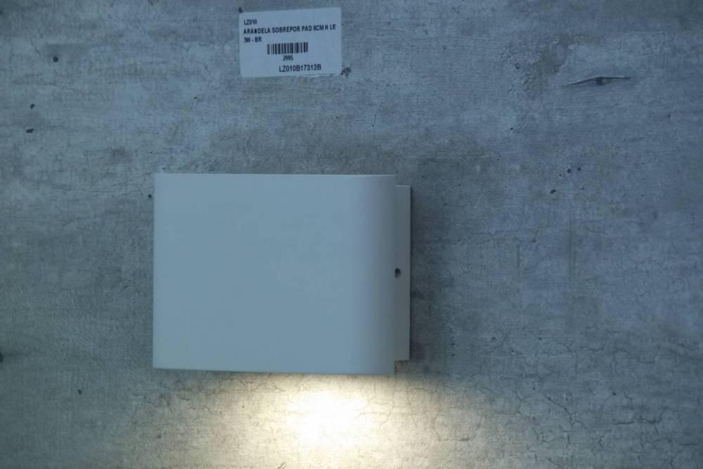 ARANDELA SOBREPOR PAD 8CM H LED 3W - BR