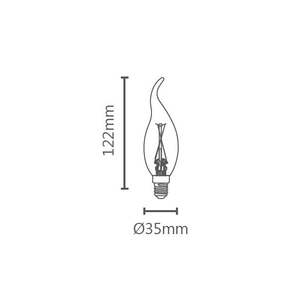 LAMP LED VELA CHAMA FILAMENTO E14 2W 220V 200LM STH6312/24