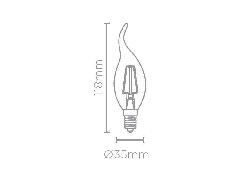 LAMP LED VELA CHAMA FILAMENTO E14 2W 220V 200LM STH7312/27